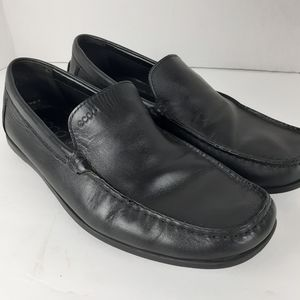 Ecco Black Leather Moccasin Loafers Mens Shoes